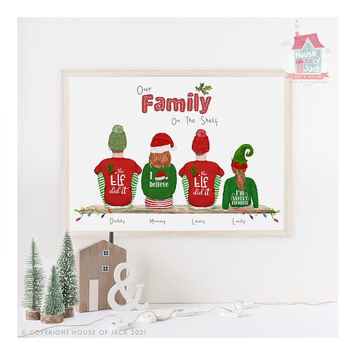 Family Christmas Portrait Personalised Art Print