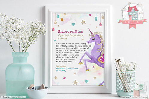 Unicorn Mum Art Print