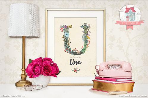 """Floral Initial """"U"""" Personalised Art Print"""