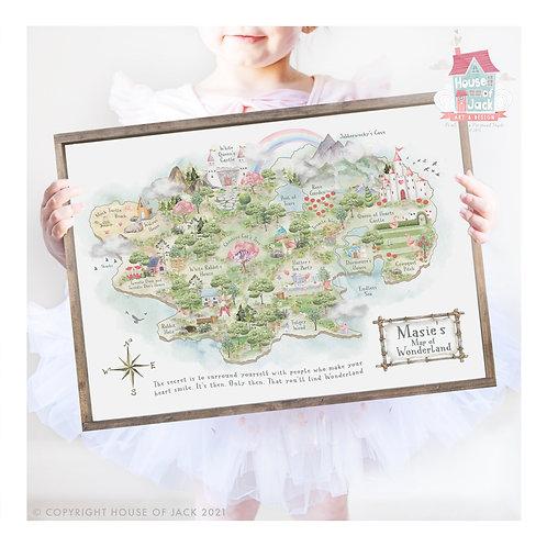 Wonderland Map Personalised Art Print