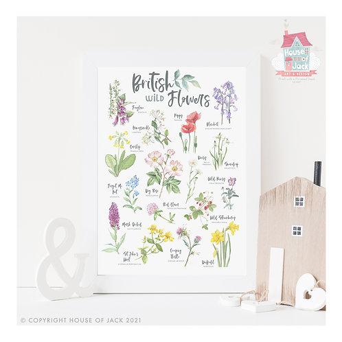 British Nature - Wild Flowers Art Print