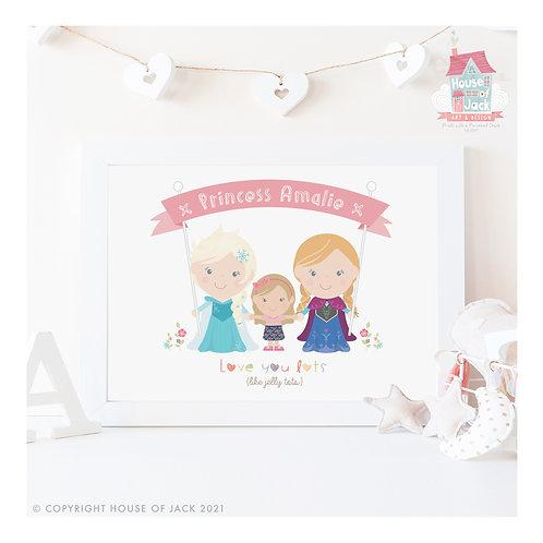 Jelly Tot Ice Princesses Personalised Art Print