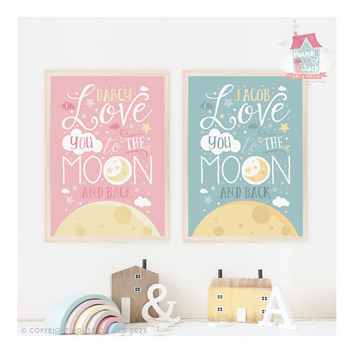 To the Moon & Back  Personalised Art Print