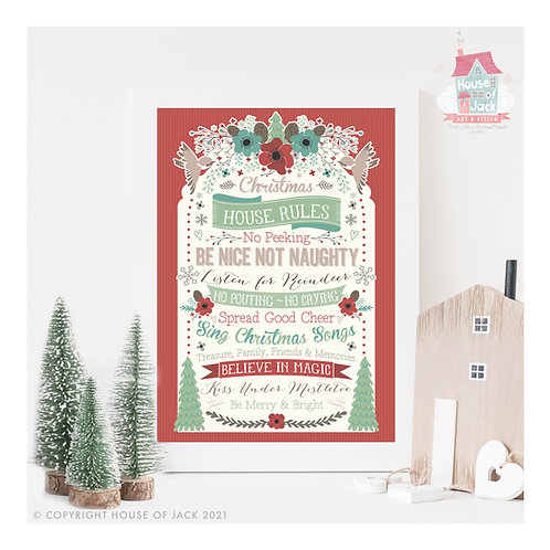 Christmas House Rules - Personalised Art Print