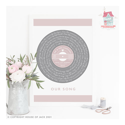 Our Song Vinyl Record - Personalised Art Print