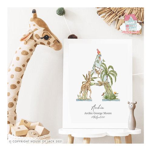 Jungle initials Personalised Art Print