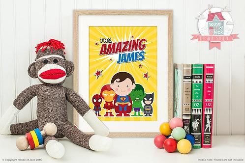 Jelly Tot Superhero Personalised Art Print