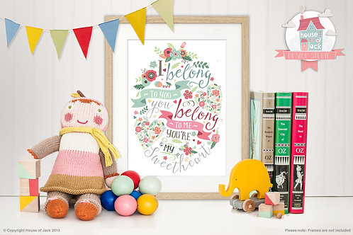 Sweetheart Banners Personalised Art Print