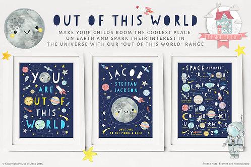 Solar System Personalised Art Print Trio