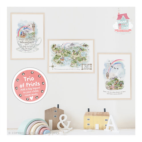 Neverland Personalised Art Print Trio