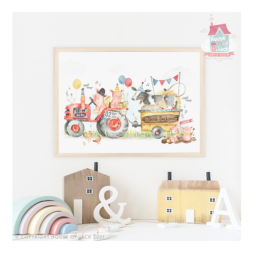 "Animal Birth Details ""Farm Tractor"" Personalised Art Print"