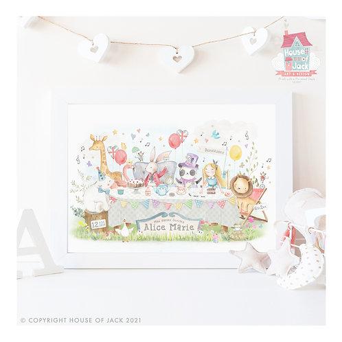 "Animal Birth Details ""Tea Party"" Personalised Art Print"