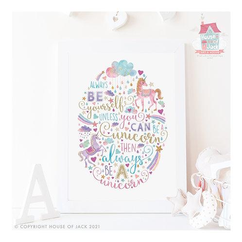 Glitter Unicorn Be a Unicorn Personalised Art Print