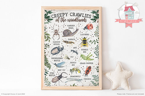 Wild Woodland Creepy Crawlies Art Print