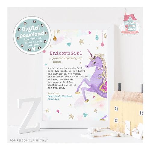 Unicorn Girl Digital Art Print