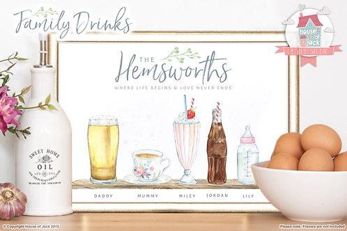 amily DrinksF Personalised Art Print