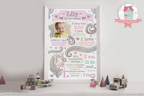 Unicorn Birthday Personalised Art Print