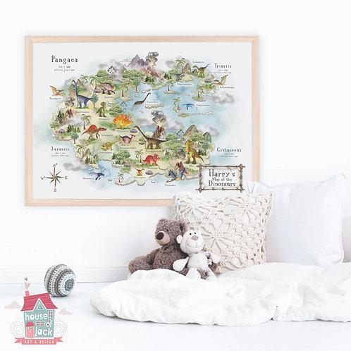Dinosaur Map Personalised Art Print