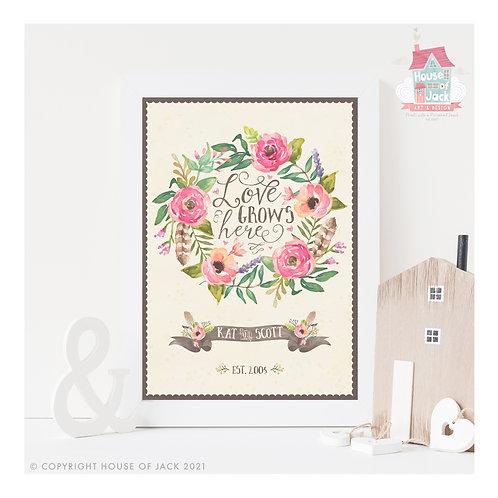 Love Grows Personalised Art Print