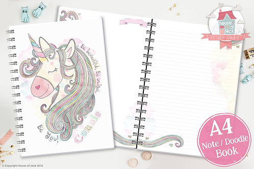 Unicorn Personalised A4 Note & Doodle Book
