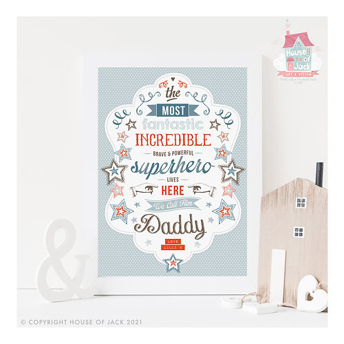 Superhero Daddy Personalised Art print