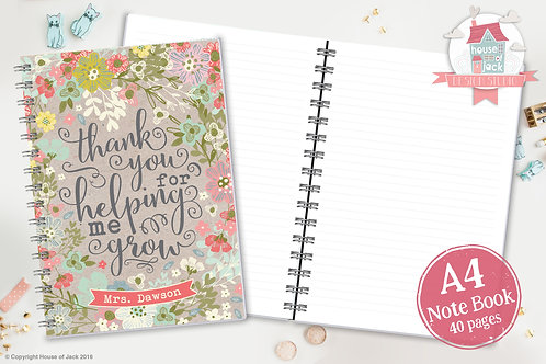 Grow Personalised A4 Notebook