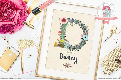 """Floral Initial """"D"""" Personalised Art Print"""