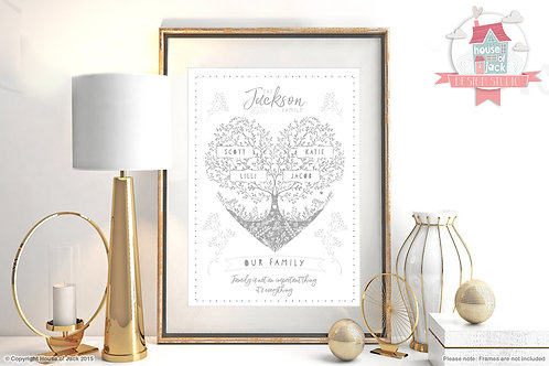 Delicate Family Tree Personalised Art Print
