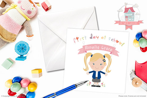 Jelly Tot School Girl Personalised Greetings Card