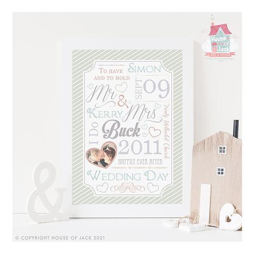 Wedding Day Personalised Art Print