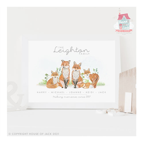 Foxes Animal Family Portrait Personalised Art Print