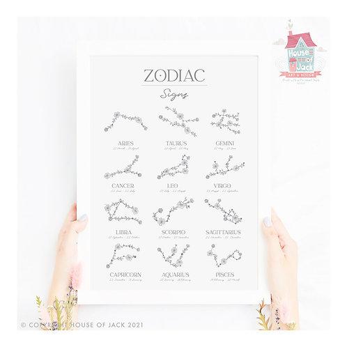 Floral Zodiac Art Print
