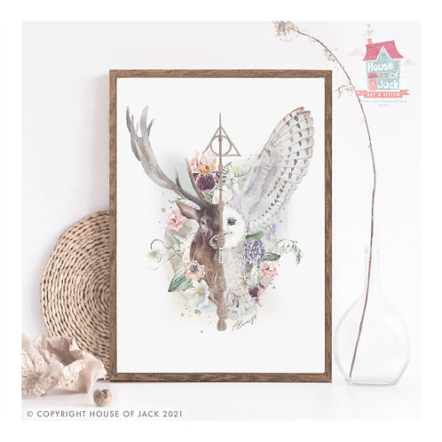 "Stag & Owl ""Always"" Art Print"