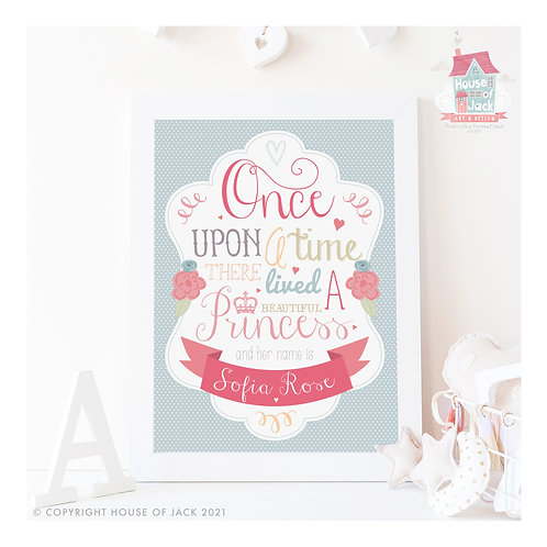 Once Upon a Prince or Princess Personalised Art Print