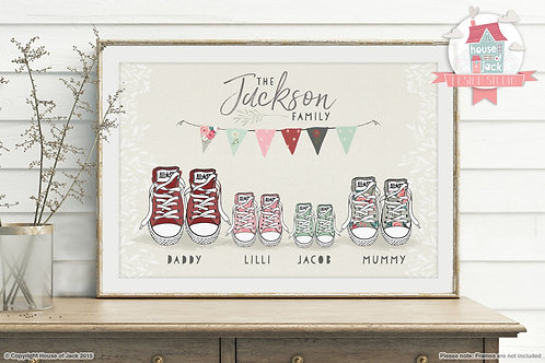 Family Footprints Trainers Personalised Art Print