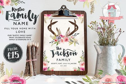 Rustic Family Name Personalised Art Print
