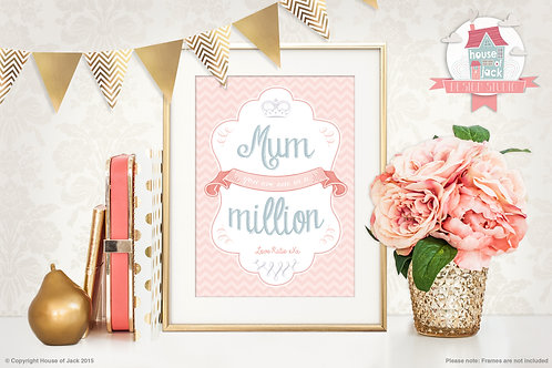 Mum in a Million Personalised Art Print