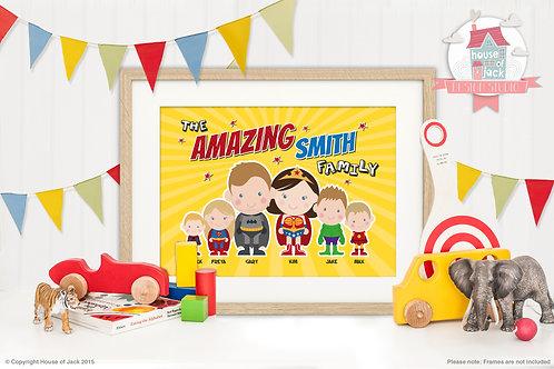 Superhero Family Portrait Personalised Art Print