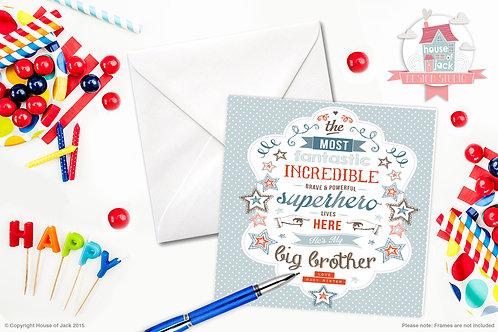 Superhero Brother Personalised Greetings Card