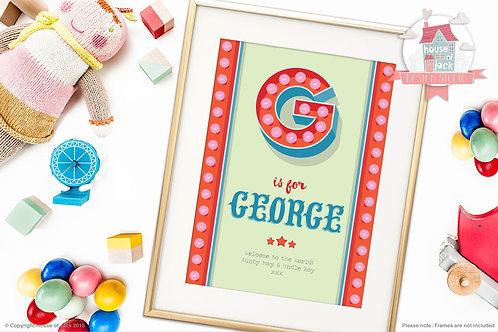 """Circus Initial """"G"""" Personalised Art Print"""