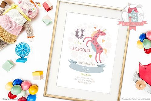 """Animal Alphabet """"U"""" Personalised Art Print"""