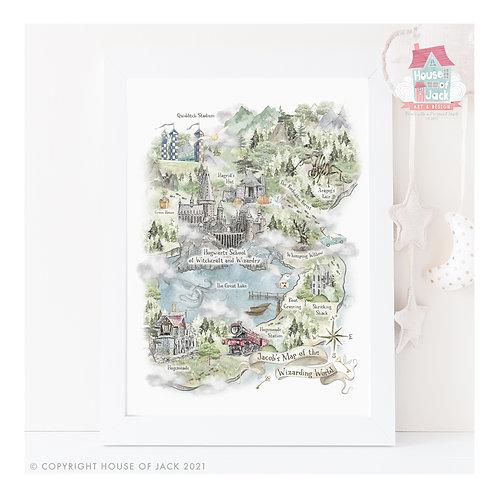 Wizard Map Personalised Art Print