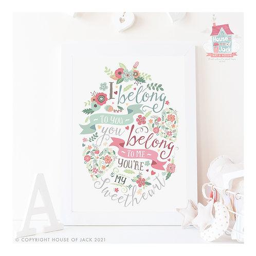 Sweetheart Banners Personalised Art Print