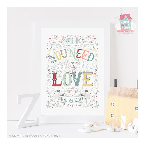 All You Need Personalised Art Print
