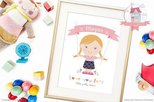 Jelly Tot Girl Personalised Art Print