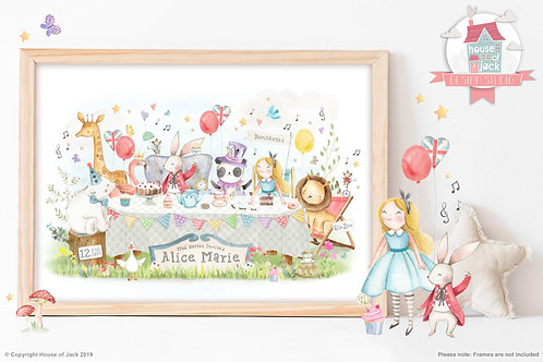 "Animal Birth Details ""Tea Party"" Personalised Art Print"