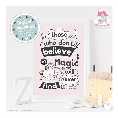 Unicorn Magic Pink Digital Art Print