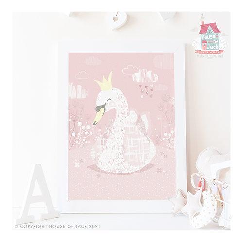Whimsical Woodland Swan Art Print