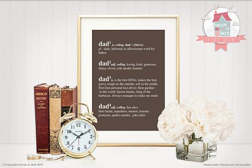 Dictionary Def - Grandad Personalised Art Print