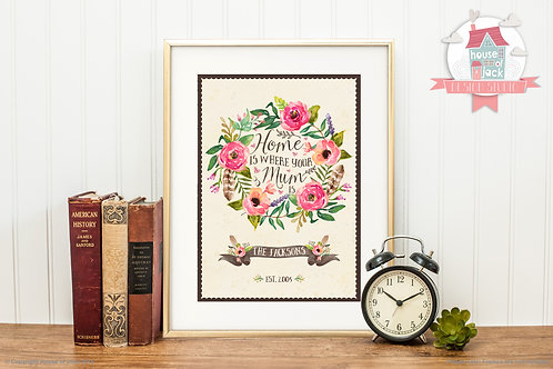 Home is Where Personalised Art Print